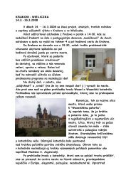KRAKOW – WIELICZKA 14.3. -16.3.2008 V dňoch 14. – 16.3.2008 ...