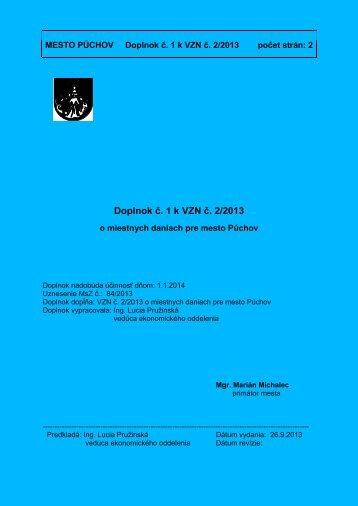 Doplnok č 1 k VZN č 2/2013