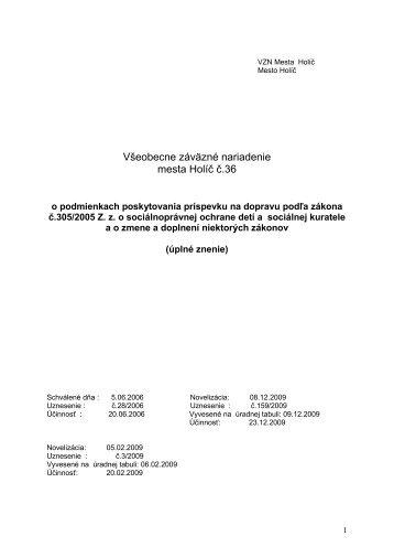Všeobecne záväzné nariadenie mesta Holíč č.36