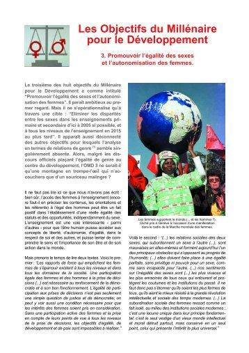 Les Objectifs du Millénaire pour le Développement - Solidarité ...