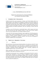 CALL FOR PROPOSALS EAC/S07/2013 Support for a pilot project ...