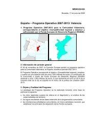 España – Programa Operativo 2007-2013 Valencia