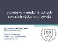 Slovensko v medzinárodných centrách výskumu a vývoja