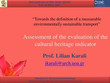 Assessment of the evaluation of the cultural heritage indicator