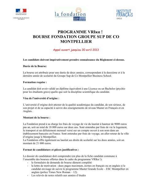 Programme Vrika Bourse Fondation Groupe Sup De Co Montpellier