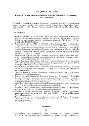 ZARZĄDZENIE NR … - Zarząd Melioracji i Urządzeń Wodnych ...