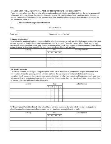 NATIONAL HONOR SOCIETY CANDIDATE RATING FORM