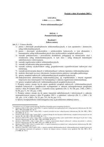 Projekt Ustawy Prawo Telekomunikacyjne 2004