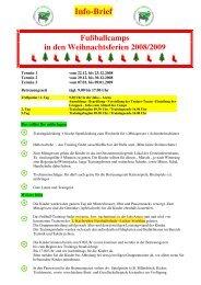 Info-Brief Fußballcamps in den Weihnachtsferien 2008 ... - JAKOarena
