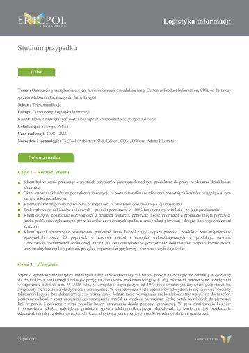Logistyka informacji Studium przypadku