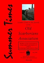 Summer Times is the Journal of the Old Scarborians Association
