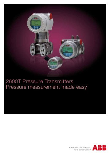 2600T Pressure Transmitters Pressure measurement made easy
