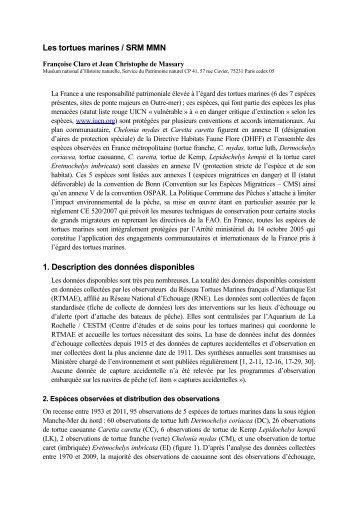 Les tortues marines / SRM MMN 1. Description des données - Ifremer