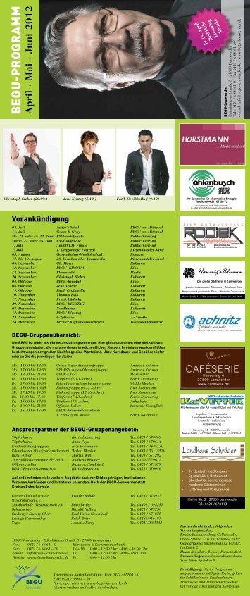 BEGU-PROGRAMM April · Mai · Juni 2012 - BEGU lemwerder