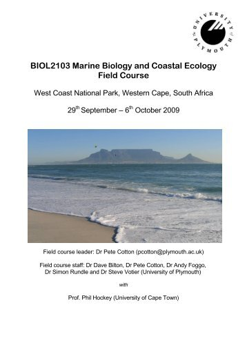 BIOL2103 Marine Biology and Coastal Ecology Field Course