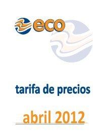 Tarifa de precios Eco Abril 2012 - Hostalia