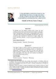 a trajetória constitucional da redemocratização brasileira: evoluções ...
