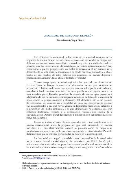 Derecho y Cambio Social ¿SOCIEDAD DE RIESGO EN EL PERÚ ...