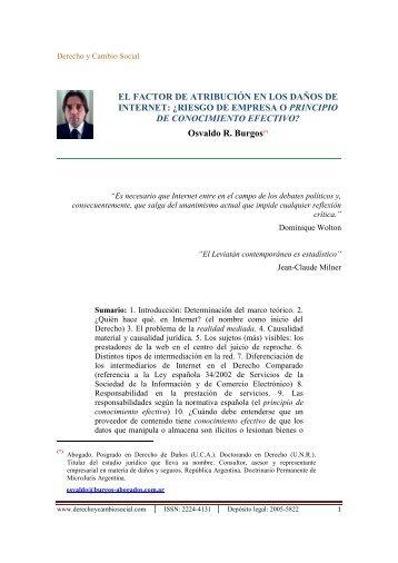 El factor de atribución en los daños de Internet - Derecho y Cambio ...