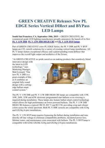 GREEN CREATIVE Releases New PL EDGE Series Vertical DIRect and BYPass LED Lamps