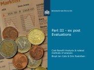 Part III - ex post Evaluations