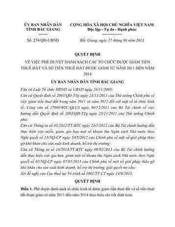 Quyết định số 274/QĐ-UBND - Cục Phát triển doanh nghiệp > Trang ...