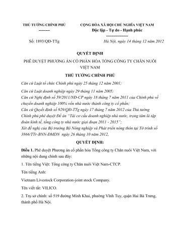 Số: 1893/QĐ-TTg Hà Nội, ngày 14 tháng 12 năm 2012 QUY P
