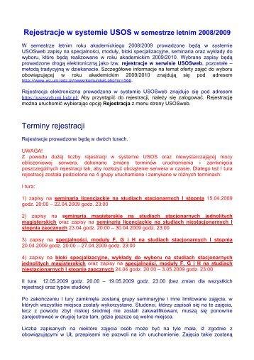 Rejestracje w systemie USOS Terminy rejestracji