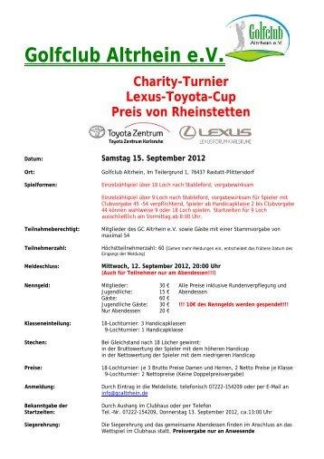 Golfclub Altrhein eV Charity-Turnier Lexus-Toyota-Cup Preis von ...