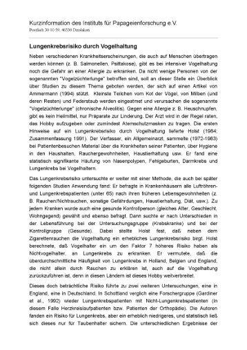 Lungenkrebsrisiko durch Vogelhaltung - Papageien-und-Sittiche.de