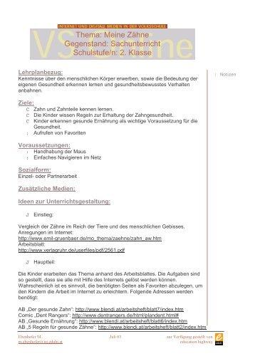 Thema: Meine Zähne Gegenstand: Sachunterricht Schulstufe/n: 2 ...