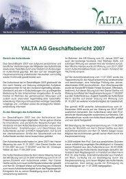 YALTA AG Geschäftsbericht 2007
