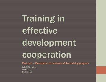 Training in effective development cooperation