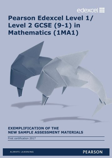 Pearson Edexcel Level 1/ Level 2 GCSE (9-1) in Mathematics (1MA1)