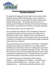 speech [PDF - 40 KB] - Northern Rockies Regional Municipality