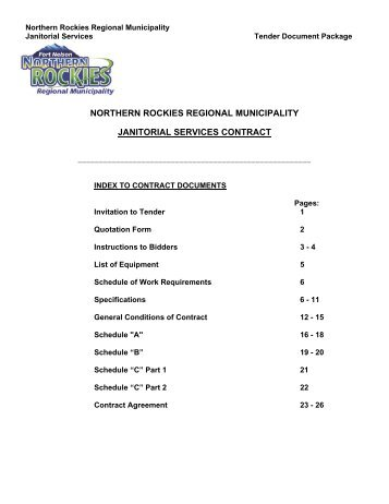 NORTHERN ROCKIES REGIONAL MUNICIPALITY JANITORIAL SERVICES CONTRACT