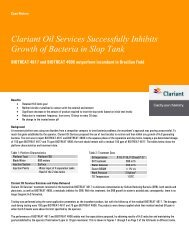 Clariant Oil Services Successfully Inhibits Growth of Bacteria in Slop Tank
