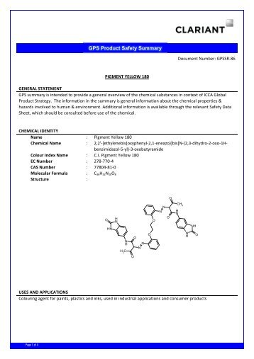 GPS SUMMARY REPORT 86 PIGMENT YELLOW 180 ... - Clariant