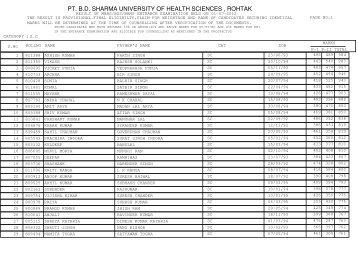 PT B.D SHARMA UNIVERSITY OF HEALTH SCIENCES  ROHTAK