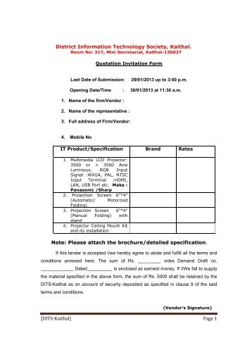 [DITS-Kaithal] Page 1 District Information Technology Society ...