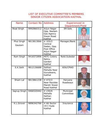 List of Executive Committee Members - Kaithal