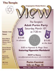 The Temple Saturday March 10 at 7:30 The Temple's Adult Purim Party