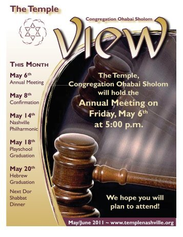 The Temple Annual Meeting on Friday May 6 at 5:00 p.m