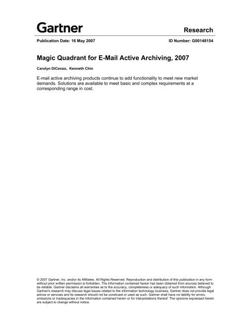 Research Magic Quadrant for E-Mail Active Archiving 2007