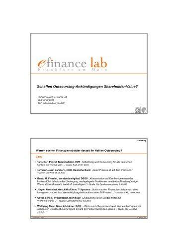 Schaffen Outsourcing-Ankündigungen Shareholder ... - E-Finance Lab