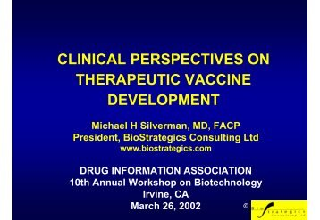 CLINICAL PERSPECTIVES ON THERAPEUTIC VACCINE DEVELOPMENT