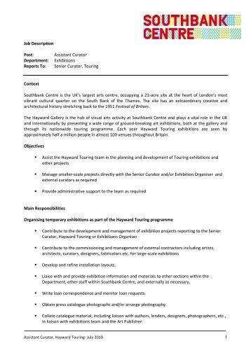Job Description Post: Assistant Curator ... - Southbank Centre