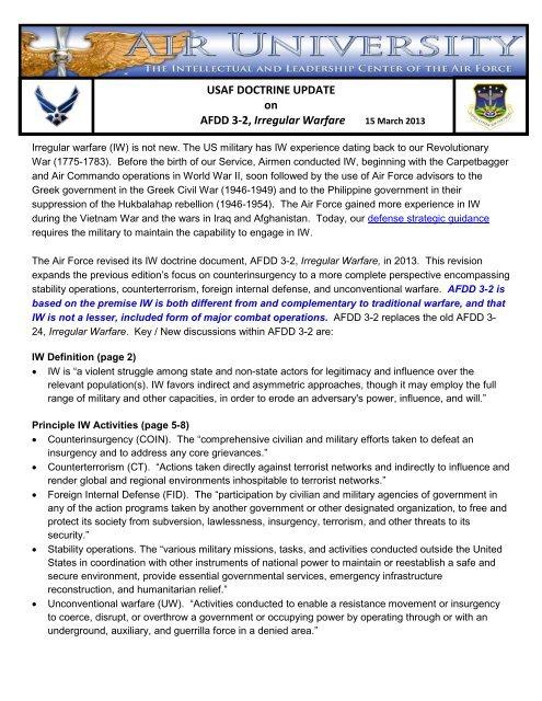 USAF DOCTRINE UPDATE on AFDD 3-2 Irregular Warfare
