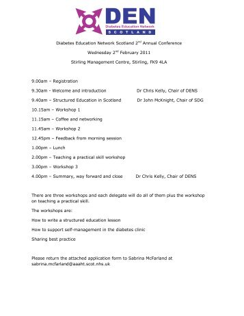 Diabetes Education Network Scotland 2nd Annual Conference ...