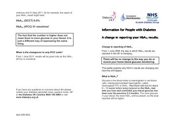 Information for People with Diabetes A change in reporting your HbA1c results
